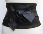 Black leather super wide obi cinch corset style wrap belt