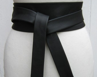 Black leather narrow obi wrap belt