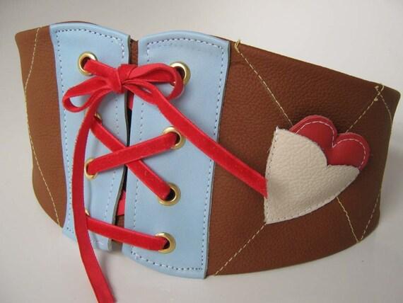 Boleyn tan leather corset style cinch belt with heart pocket