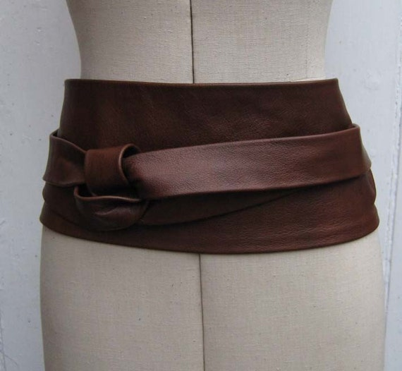 oak brown leather obi cinch corset style wrap by