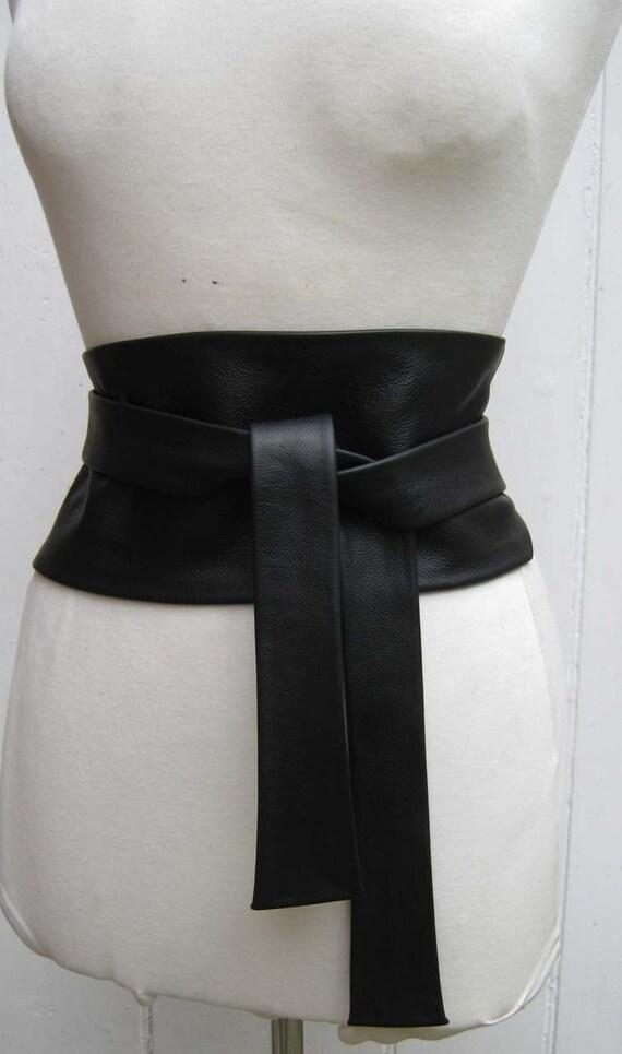 Black leather obi cinch corset style wrap belt