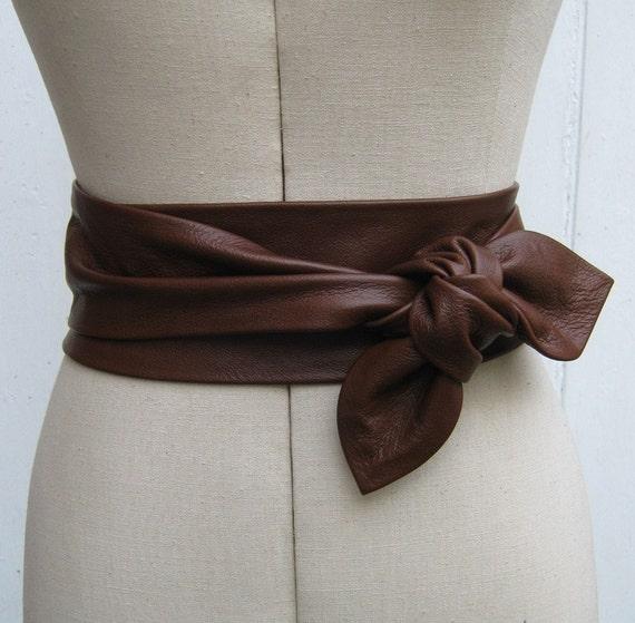 items similar to oak brown leather cinch petal wrap belt