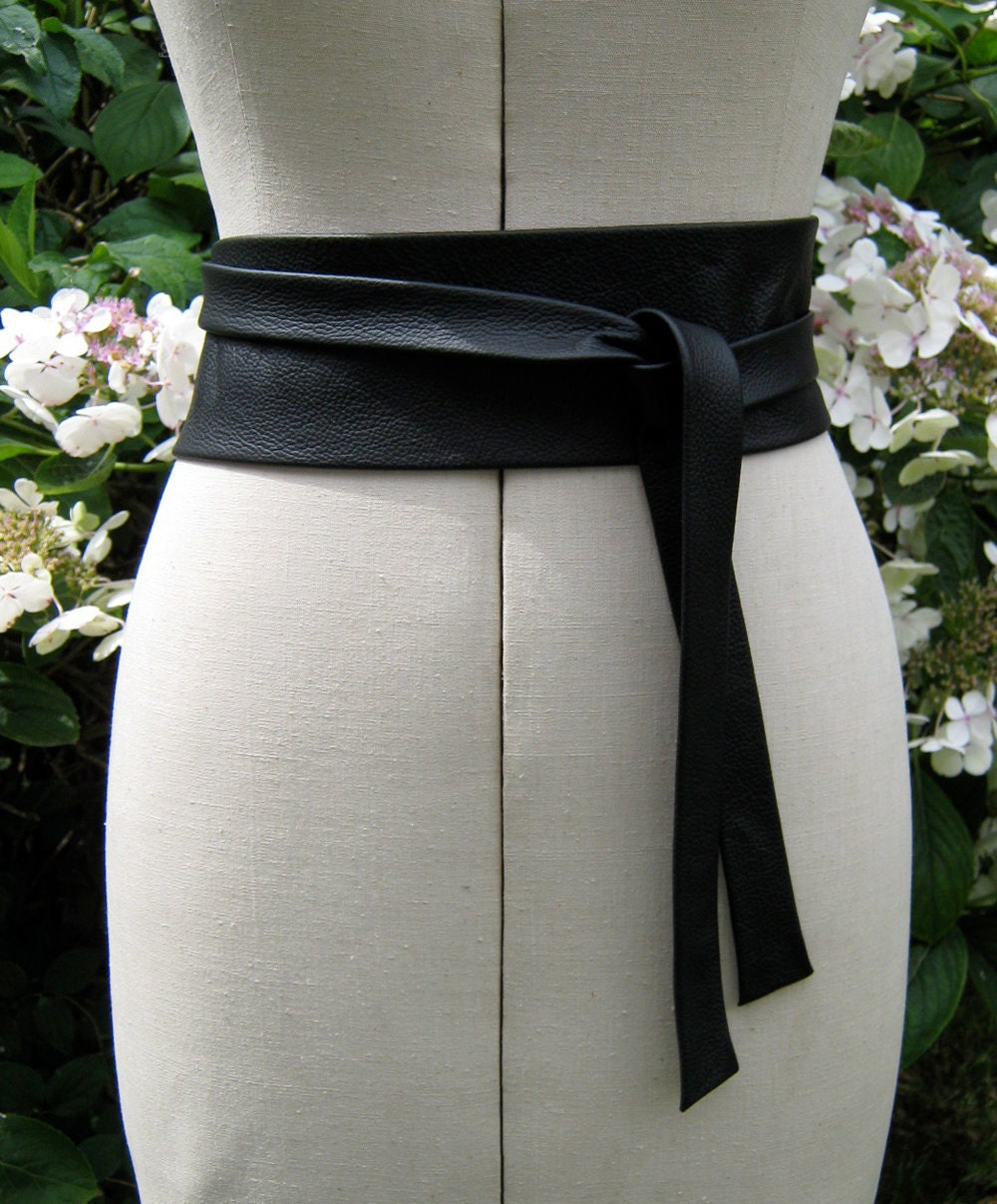 black leather simple wrap around narrow belt by elizabethkelly
