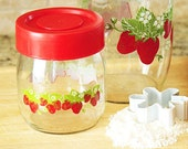 Set of Two Glass lided Jars with Strawberries