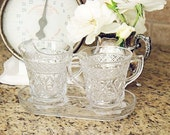 Glass Cream and Suger Vessels/Holders with Tray