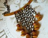 Metal & Chain Bib Necklace with Jasper