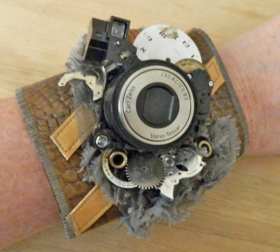 Snapshot In Time - Steampunk Fiber Cuff - with watch and camera parts