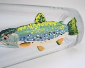 Trout fly fishing hand painted glassware - Gift for Dad - Made to Order - 1 glass