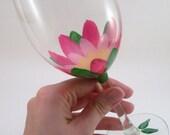 Lotus flower Hand painted wine glasses - floral painted stemware -  set of 4