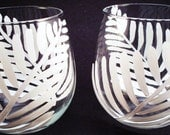 White Ferns - stemless hand painted wine glasses - set of 2 Made To Order