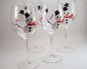 Christmas painted wine glasses - Snowmen and falling snow - set of 4
