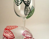 Hand painted wine glasses Red and Green leaves - set of 2 Ready to Ship