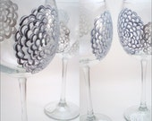 Lacy Dream - silver snowflake hand painted wine glasses - set of 4 Made to Order