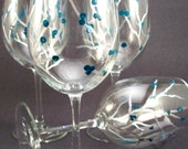 Hand painted wine glasses, silver branches with teal berries, teal winter berry glasses - set of 4 Ready to Ship