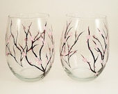 Cherry blossoms wine glasses - hand painted stemless wine glasses - set of 2