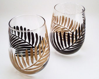 Hand painted stemless wine glasses, black and gold ferns, modern painted glassware - set of 2
