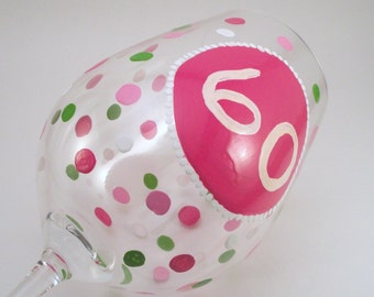 Personalized hand painted wine glass with initials, monograms, or birthday age - single glass