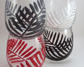 SALE! Ferns - Hand painted stemless wine glasses black and white, gray and red - set of 4 Ready to Ship