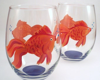 Orange goldfish with bubbles, Stemless hand painted wine glasses, goldfish glasses, painted glassware, Go Fish, Set of 2