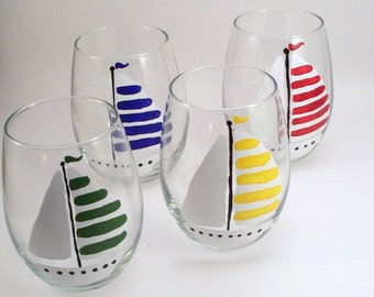 Sailboats, stemless hand painted wine glasses, painted sailboat glasses, nautical glassware, colorful boats, set of 4