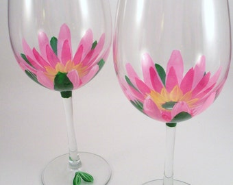 Hand painted wine glasses, Pink lotus flowers, floral glassware, painted glasses, pink flowers, lotus wine glass, set of 2