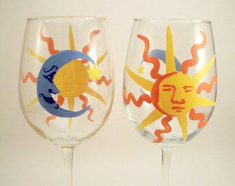 Hand painted wine glasses with sun and moon, man in the moon, sun with face, painted glassware, set of 2