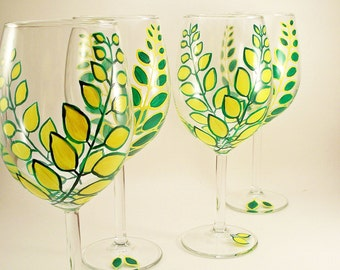 Hand painted wine glasses, green and yellow leaves, painted wine glasses with bright leaves, set of 4