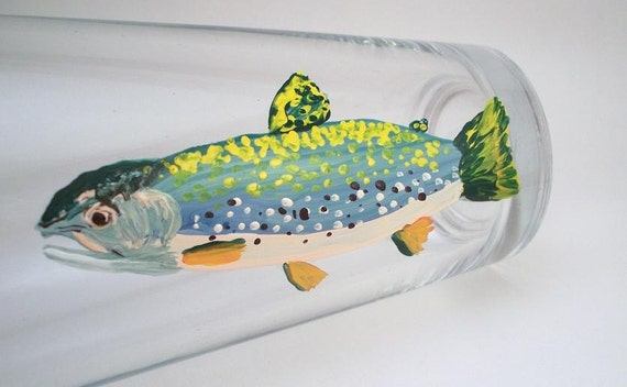 Trout fly fishing hand painted glassware - Gift for Dad - 1 glass