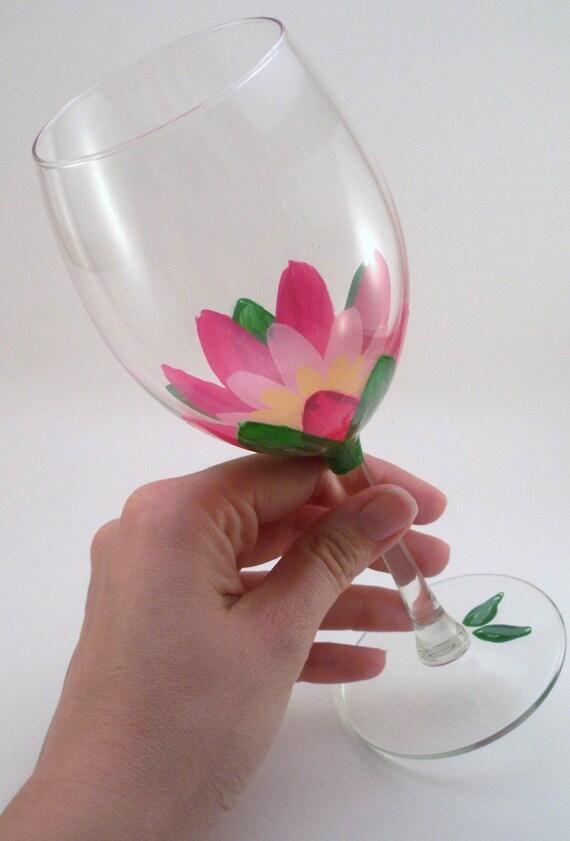 Lotus flowers - Hand painted wine glasses -  set of 4