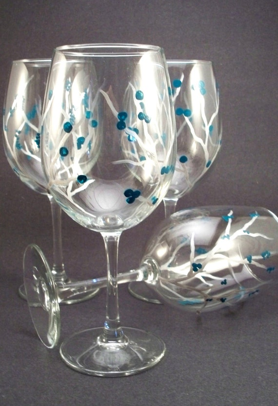 Hand painted wine glasses, silver branches with teal berries - set of 4 Ready to Ship
