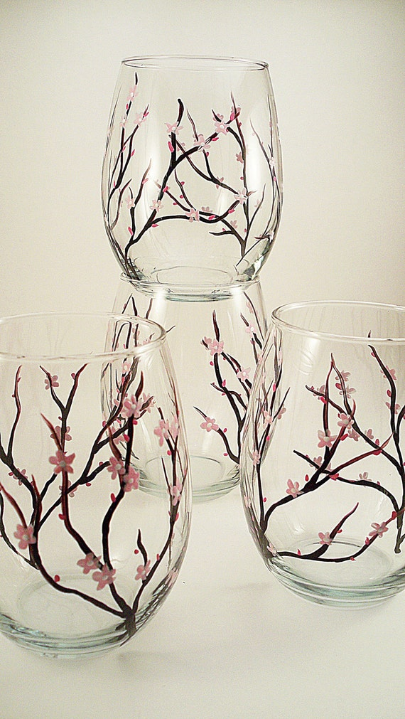 Cherry blossoms - hand painted stemless wine glasses - set of 4