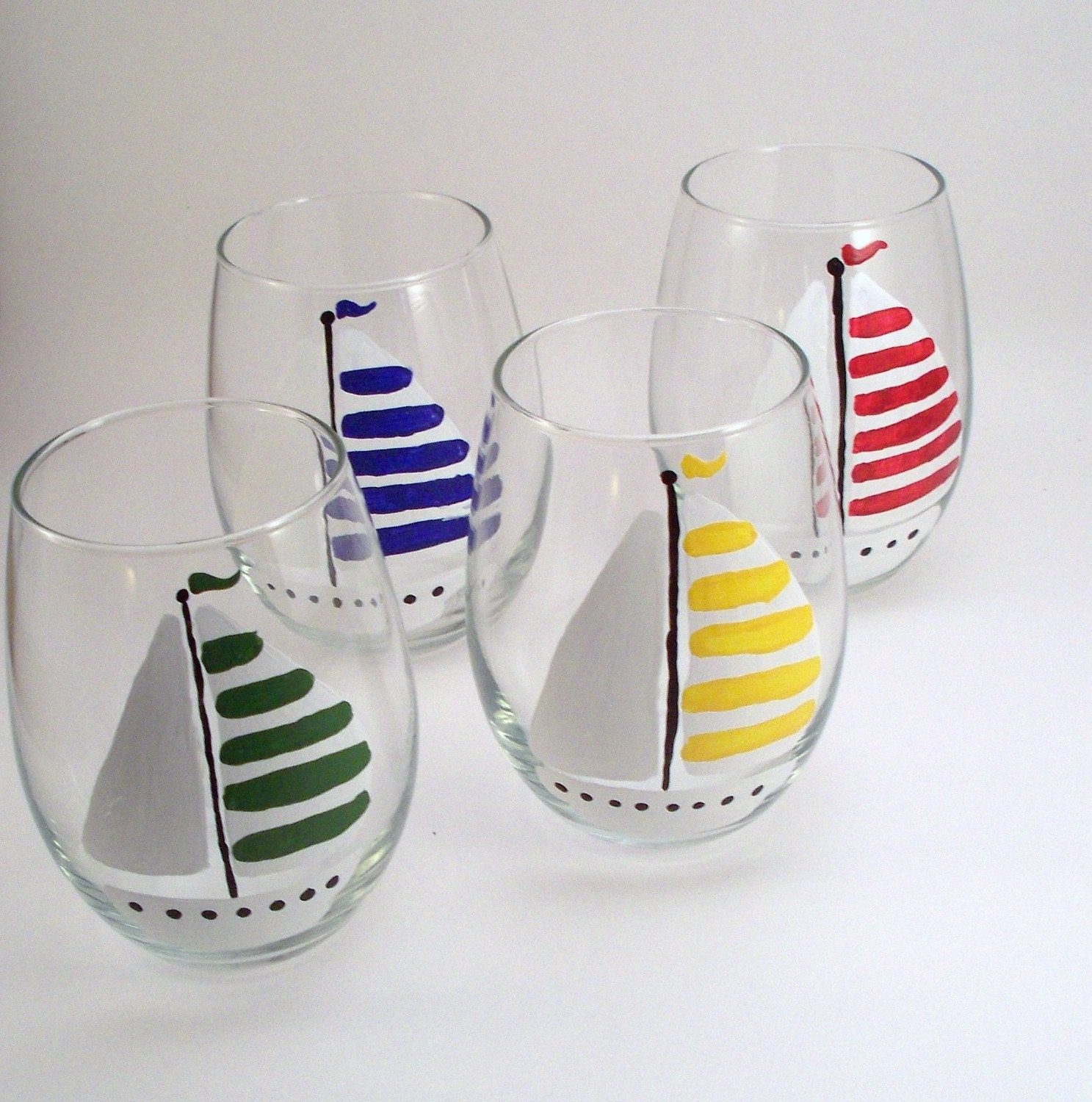 Sailboats stemless hand painted wine glasses painted for Hand painted glassware