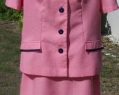 Vintage 80s Skirt Suit Pink/Navy Pleated Skirt/ Sweet Suit Size 10