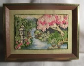 Vintage Embroidered Waterfall Framed Art  handmade wooden  wall art deco 1970s needlepoint trees garden