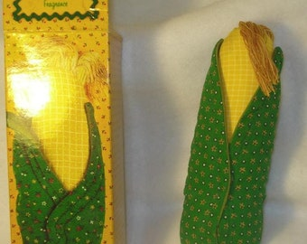 Corn  Fabric Pomander...avon in box...NIB vintage 70s Produce vegetable cloth novelty decor cute food corn on the cob gift quirky odd corny