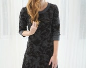 Black and Charcoal Fully Lined Sweater Dress