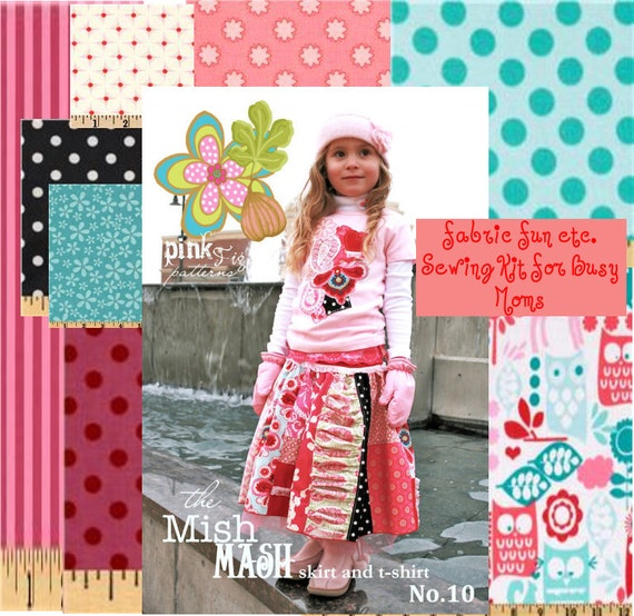 Private Listing for Valerie  Mish Mash Skirt and Embellished Tee  Pattern  and Sewing Kit  with fabrics