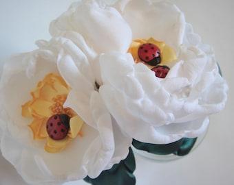 Beaded White Rose Ladybug Headband