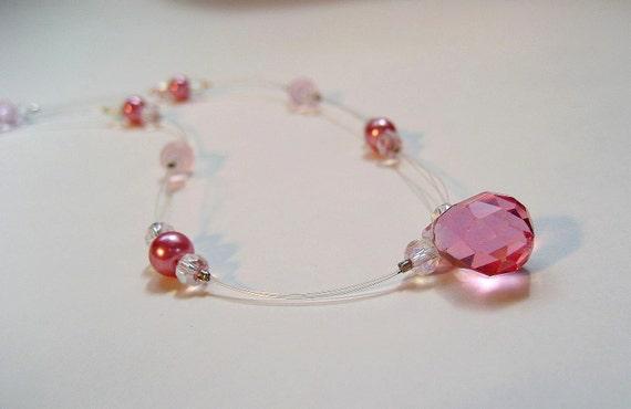Pink Princess Quinceanera Bridal Necklace