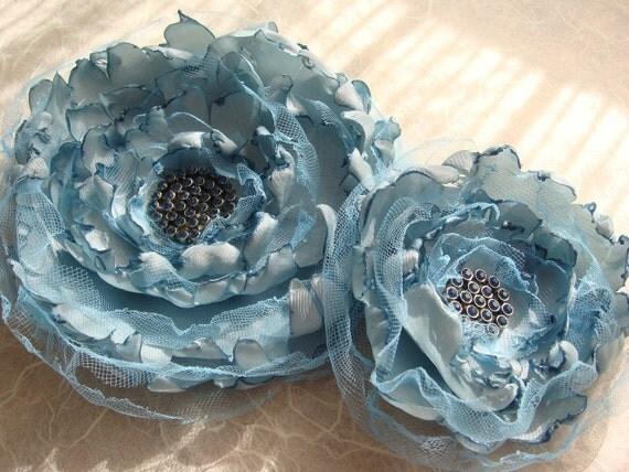 Fabric Flower Set-Vintage Blue Rhinstone-for Hair or Brooch