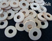1 inch Wooden Round Washers (Lot of 100) Unfinished Wood Pieces / Circles with Hole