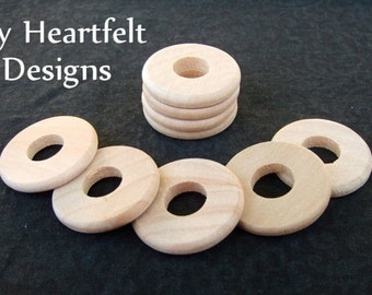 1 inch Wooden Round Washers (Lot of 30) Unfinished Wood Pieces / Circles with Hole