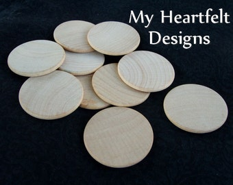 1.5 inch Wooden Round Circles (Lot of 50) Unfinished Wood 1-1/2 inches // for DIY Crafts & Weddings