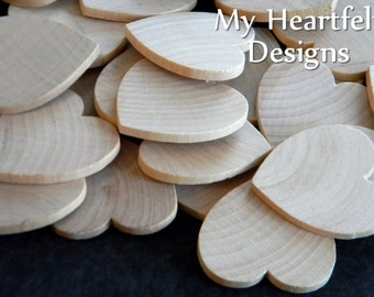 1.5 inch Wooden Heart Cutouts (Lot of 100) Unfinished Wood 1-1/2 inches, Wedding Tags, Heart Shapes