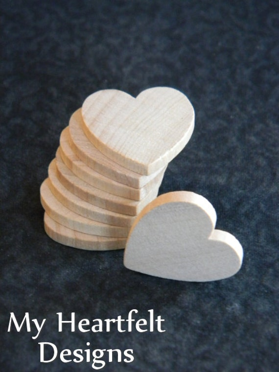1 inch Wooden Heart Cutouts (Lot of 25) Unfinished Wood Hearts, Party Favors, Holiday, Wedding DIY Crafts