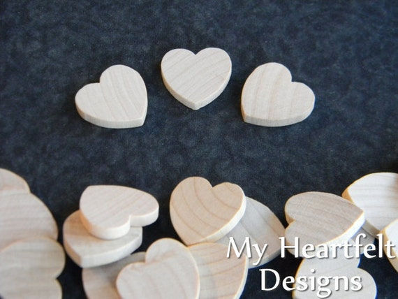 0.75 inch Wooden Heart Cutouts (Lot of 25) Unfinished Wood - 3/4 inch, Wedding DIY Crafts