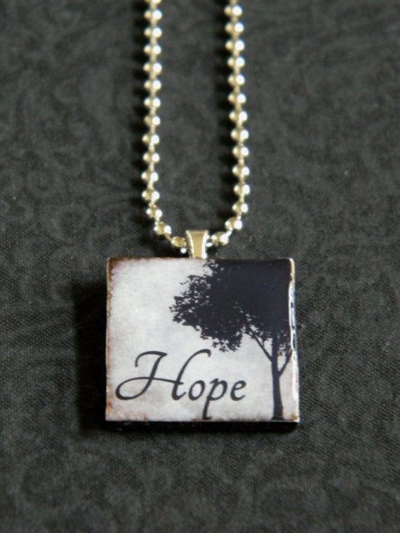 "Hope - Inspirational Pendant Necklace 1"" Wooden Square Tile - Christian Encouragement"