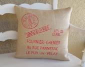 french grain sack inspired burlap pillow cover