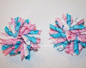 Cotton candy korker bow pink, blue and white
