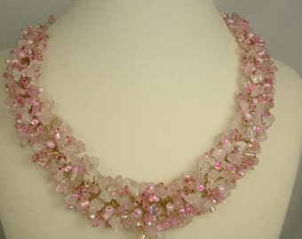 Rose quartz and freshwater pink pearls/ cluster statement necklace, glass beads,gold plate/unique gift, stunning/adjustable length